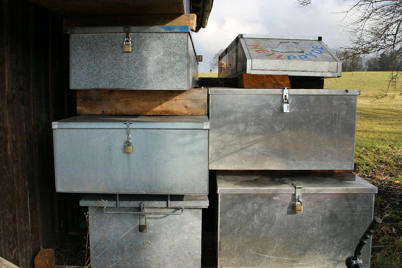 Stacked aluminum toolboxes