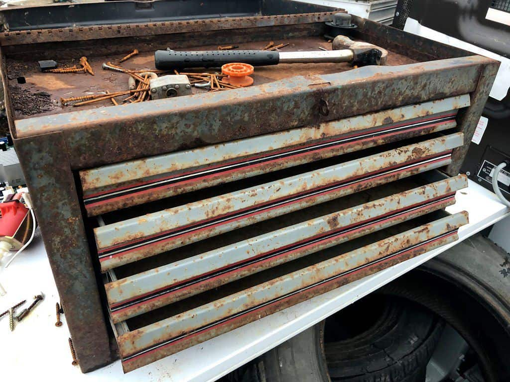 rusty old toolbox